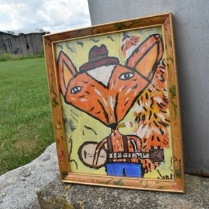 Original Folk Art Fox Playing Banjo